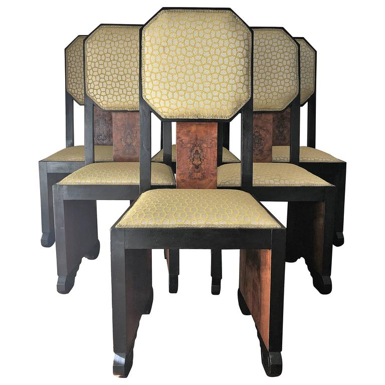 Mid century dinning chairs reupholstered in burl wood and for Reupholstered chairs for sale