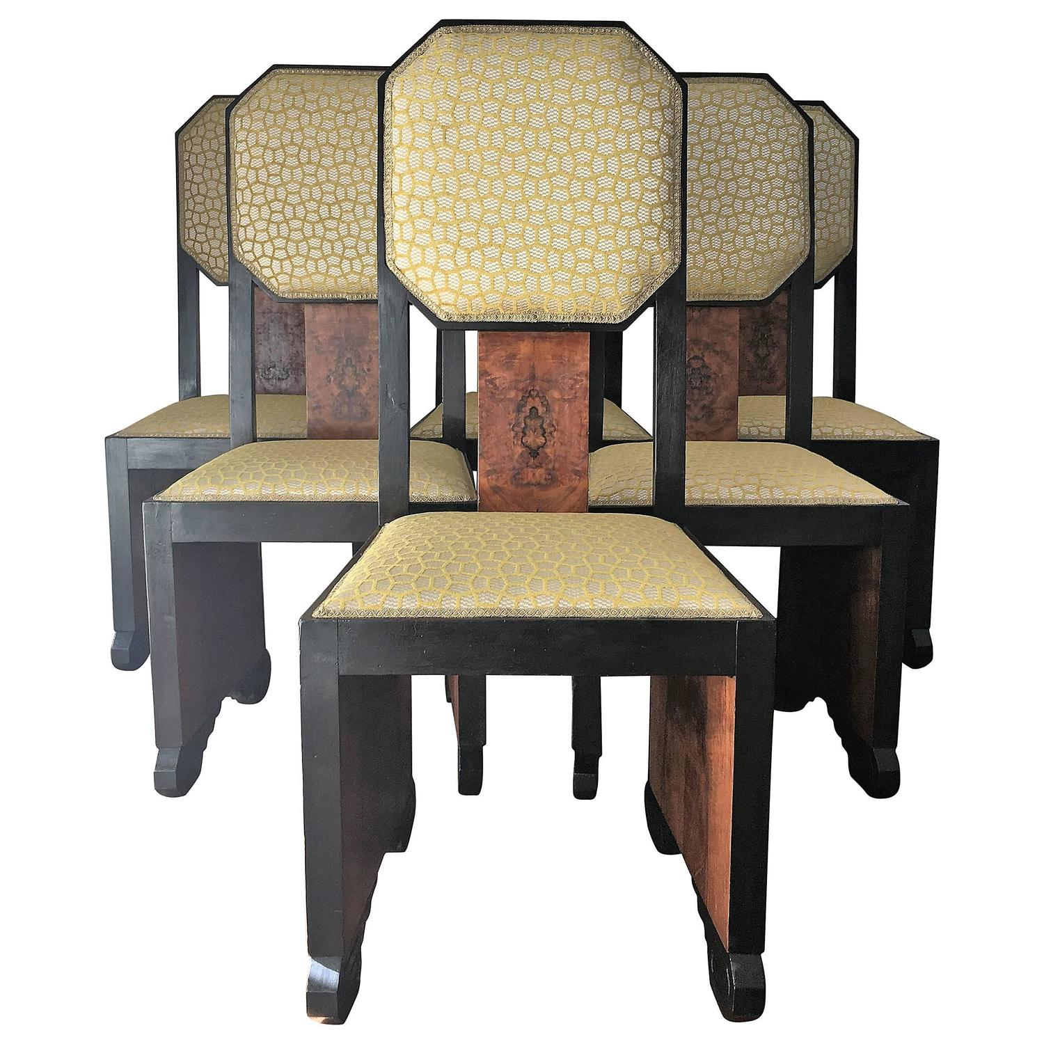 Mid century dinning chairs reupholstered in burl wood and for Reupholstered furniture for sale