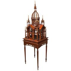 Maitland-Smith Mahogany Architectural Birdcage on Stand