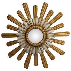French Sunburst Convex Double Layered Gilt & Silver Mirror