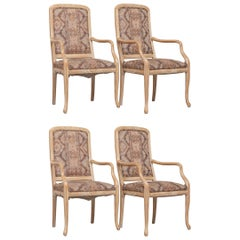 Set of Four Cerused White Oak Armchairs, 1980
