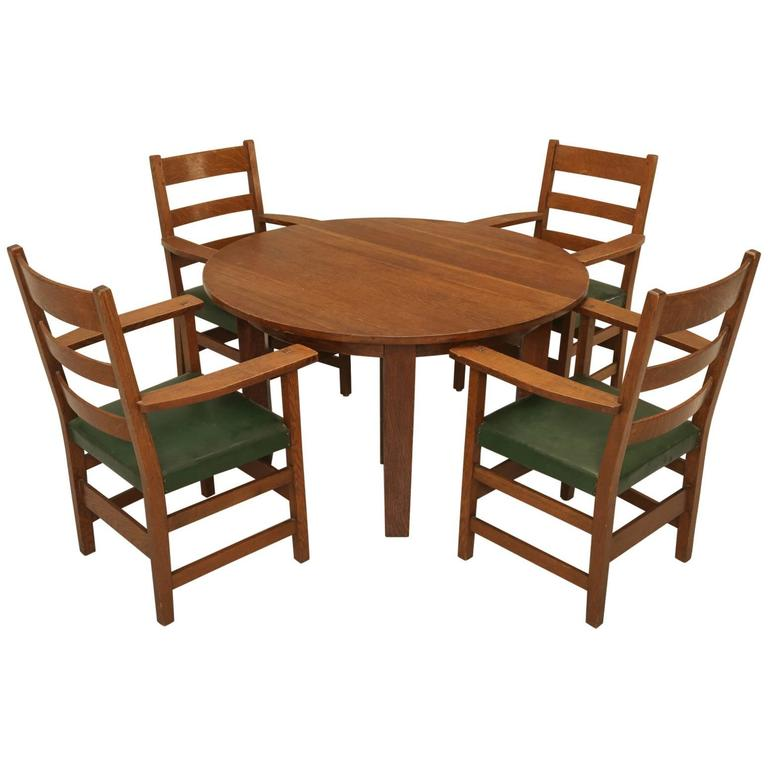arts and craft dining table and chairs in original