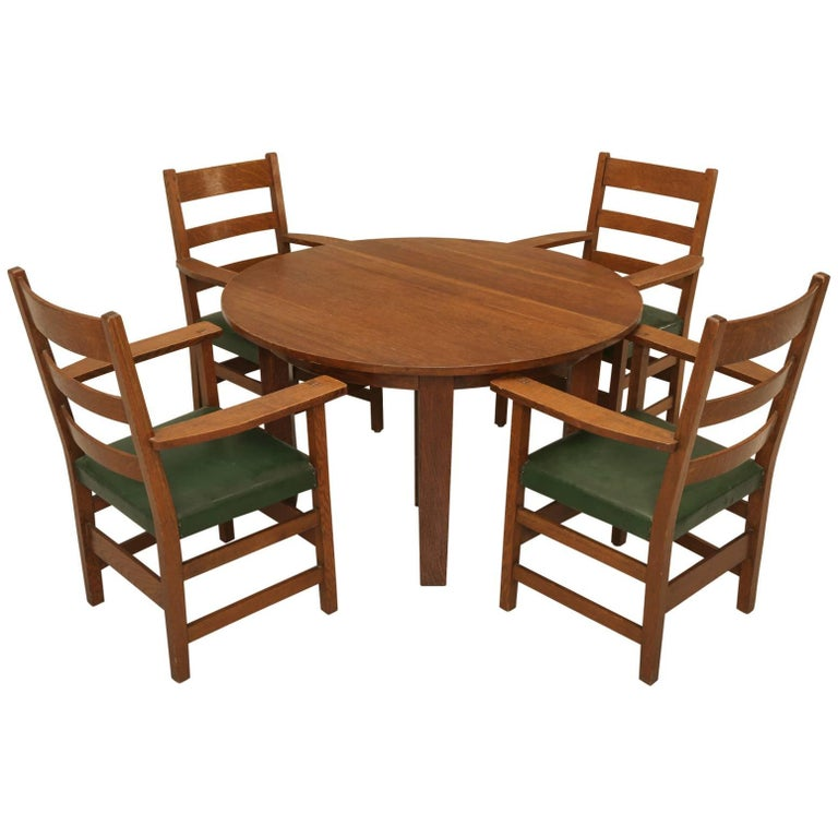 Arts And Craft Dining Table And Chairs In Original Condition At 1stdibs