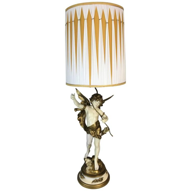 Cupid God Of Love Angel Art Nouveau Lamp By Auguste Moreau For Sale