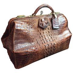 Victorian Crocodile Doctor's Hand Bag Luggage Lock Key
