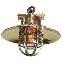 Late Century Bronze & Brass Explosion Proof Pendant, Glass Dome, Cage & Edison