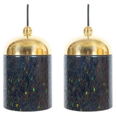Pair Murano Glass and Brass pendants, circa 1970