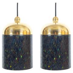 Pair Murano Glass and Brass pendants, circa 1970
