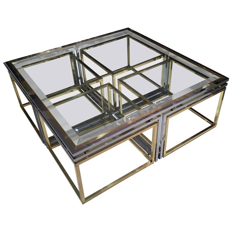Italian Brass, Chrome and Glass Cocktail Table 1