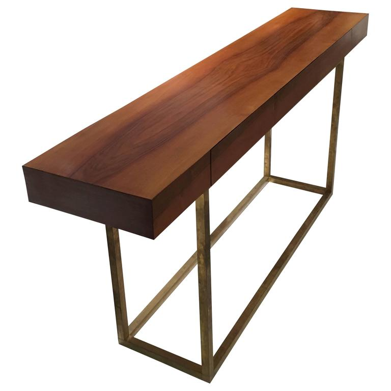 Italian Wood and Brass Console Table with Three Drawers 1