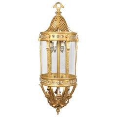 Monumental Late 19th Century Gilt Bronze and Crystal Twelve-Light Lantern