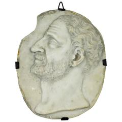 17th or 18th Century Oval Carved Marble Portrait Relief of Domizio Enobarbo
