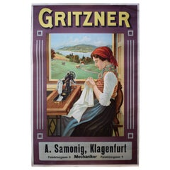 Stone Lithograph 'Gritzner Sewing Machines,' circa 1920