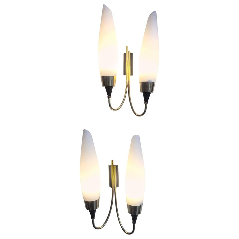 Italian Mid-Century Brass and Murano Sconces, 1950s