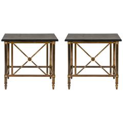 Pair of American Bronze & Polished Marble Consoles
