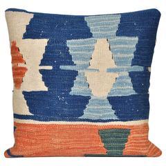 Vintage Wool Handmade Kilim with Irish Linen Cushion Pillow