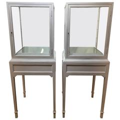 Pair of White Lacquered Display Cases