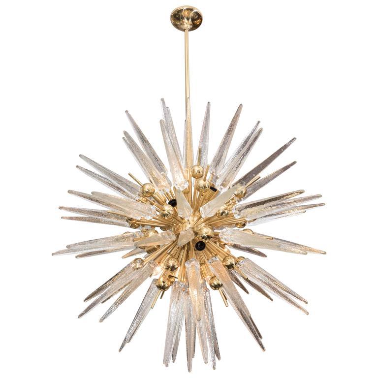 Clear Murano Glass Spike Sputnik with Interior Brass Spheres
