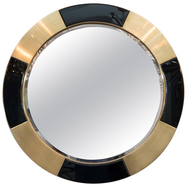 Brass and Black Glass Circle Mirror