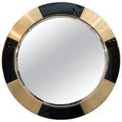Black and Brass Frame Circle Mirror
