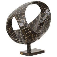 Abstract Ovoïde Bronze Sculpture by Jacques Duval-Brasseur