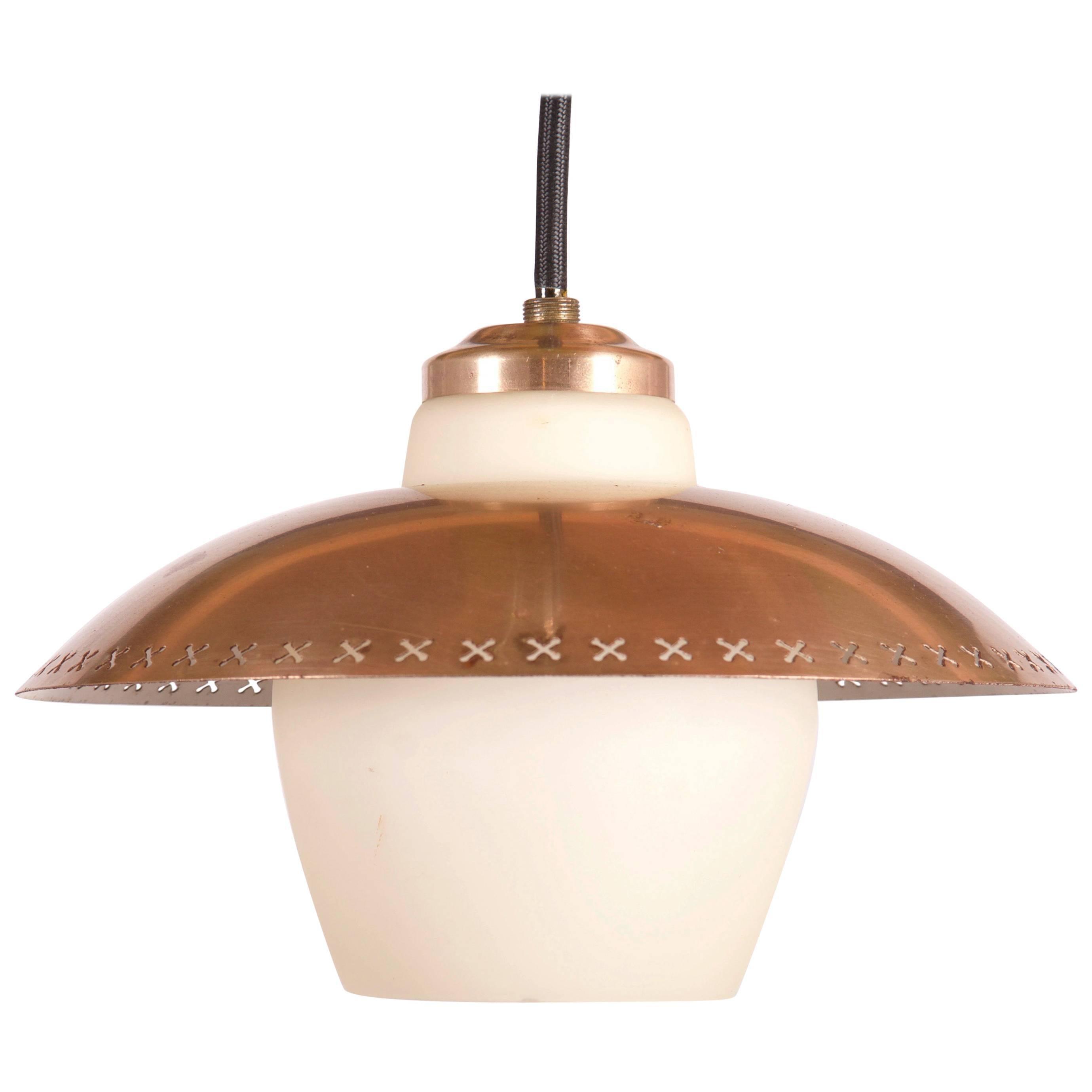 Brass Opaline Glass Pendant Light Bent Karlby for Fog & Mørup