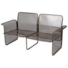 Mid-Century Modern Industrial Metal Wire Two-Seat Sofa from France