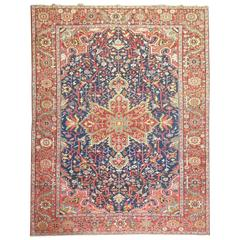 Jewel Tone Antique Persian Heriz Full Pile Carpet
