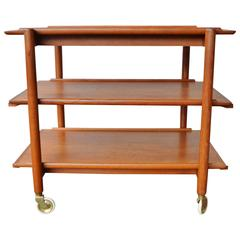 Clever Poul Hundevad Teak Expanding Cart or Serving Table with Casters, Danish