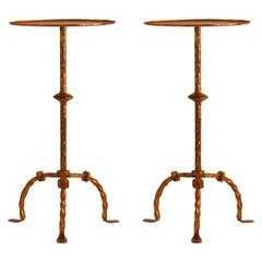Pair of Mid-Century Gilt Metal Side Tables