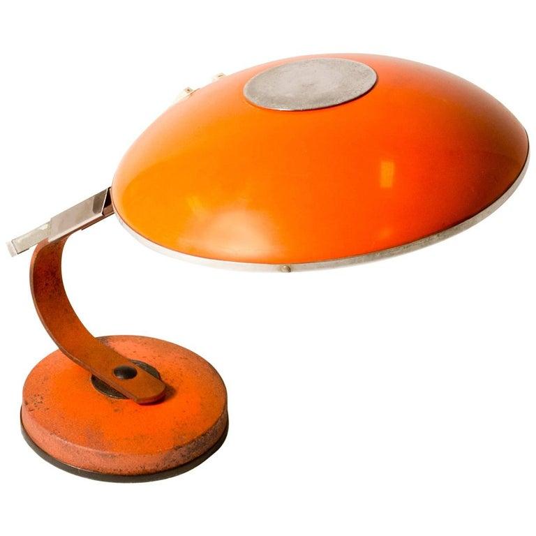 Orange Mid Century Modern Desk Lamp For Sale