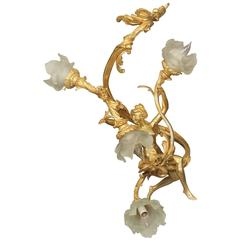 Stylish Early 20th Century Gilt Bronze Four-Light Chandelier