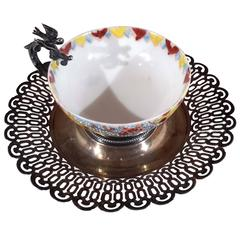 Rare Ottoman Silver Coffee Cup & Saucer, 19th Century
