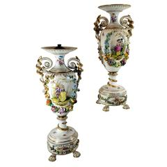 Pair of Highly Decorated Carl Thieme Dresden Porcelain Vases, 19th Century