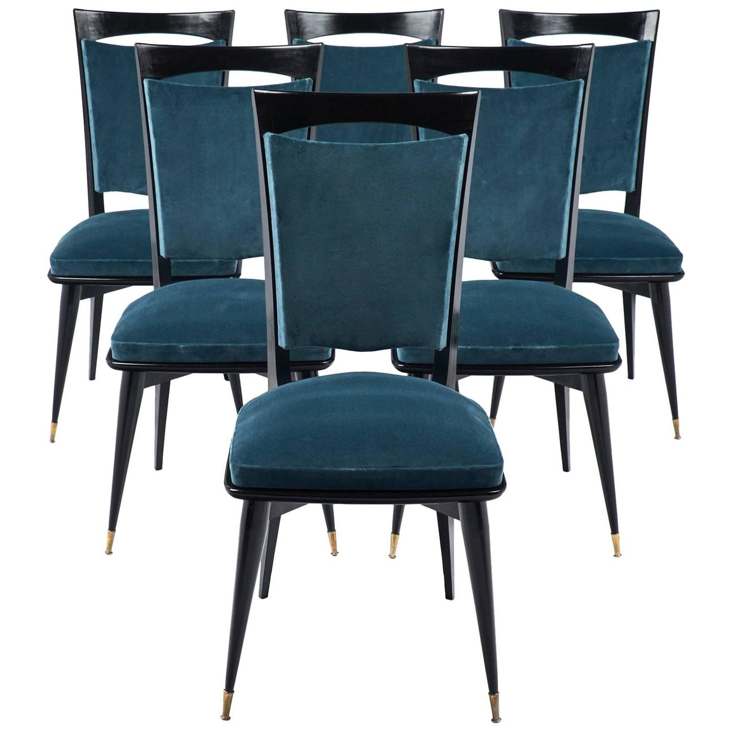 Mid century modern period set of six teal velvet dining for Dining room velvet chairs