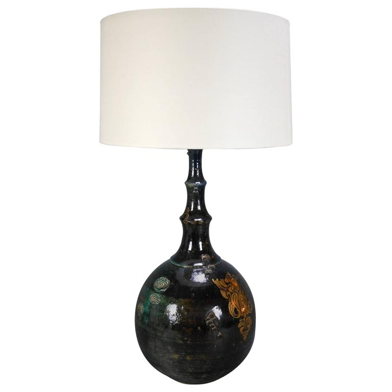Bjorn Wiinblad, Large Gilt and Glazed Ceramic Table Lamp