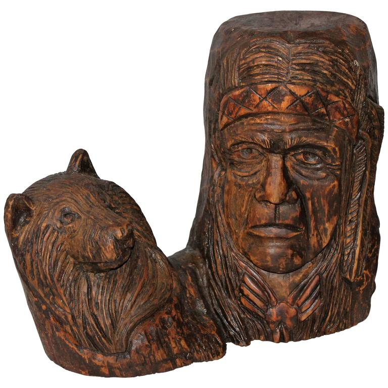 Hand carved indian chief and baby wolf for sale at stdibs