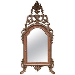 Mid-20th Century, Italian Carved Silver Leaf Mirror with Painted Coral Trim