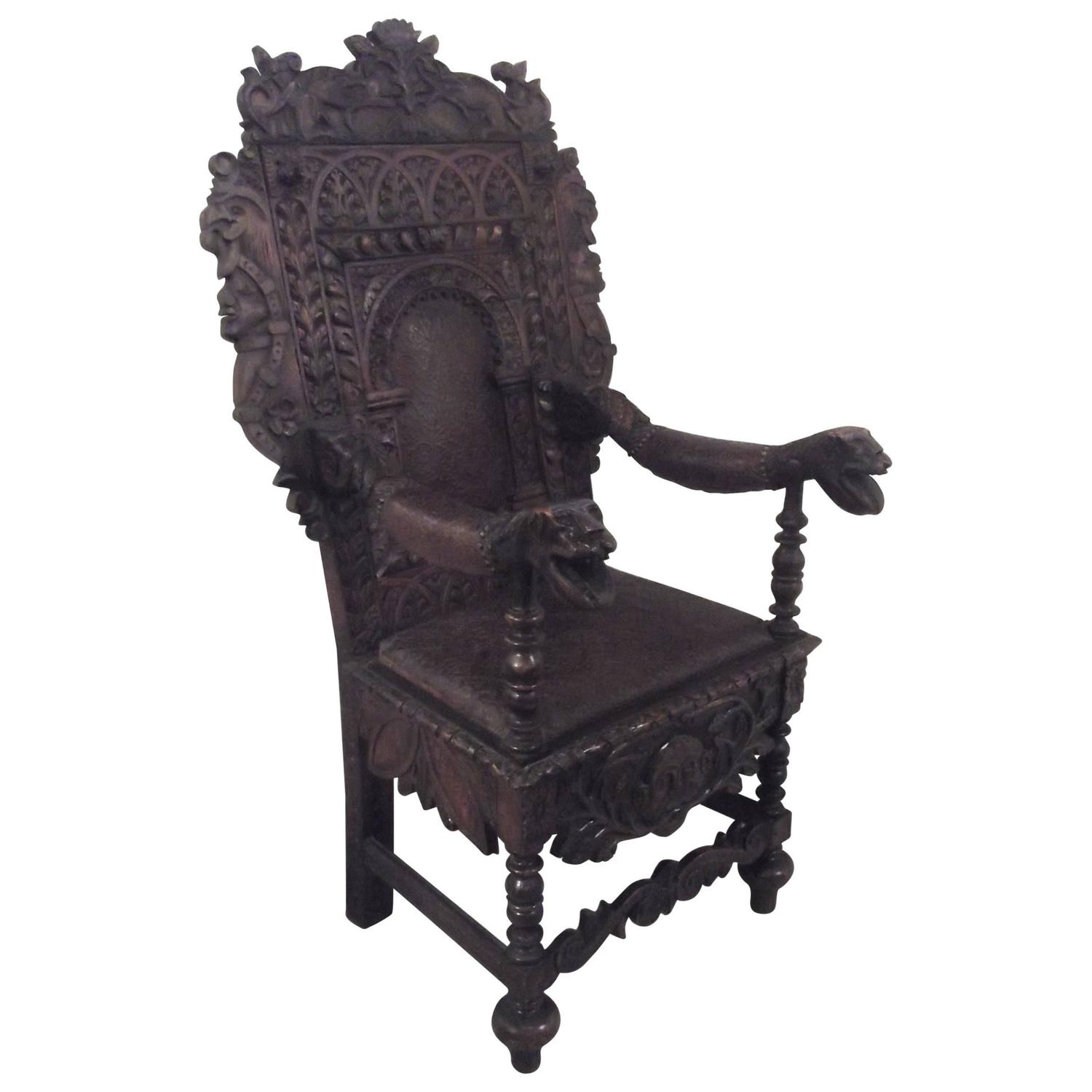 English Oak and Leather Hand Carved Throne Chair For Sale at 1stdibs