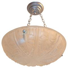 Wonderful French Art Deco Silver Frosted Glass Three-Light Chandelier Fixture