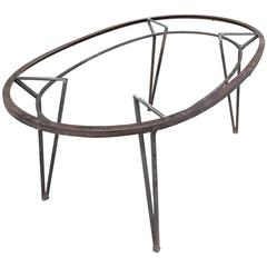 Architectural Brushed Steel Oval Outdoor Patio Dining Table