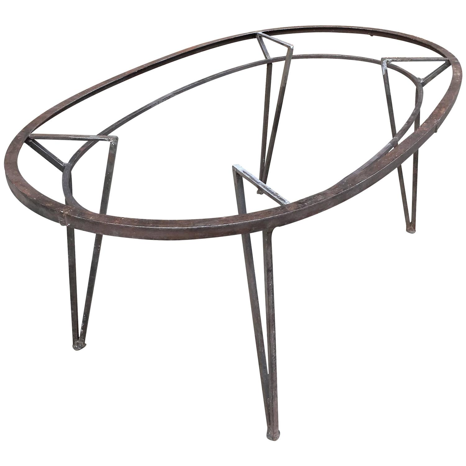 Brushed Steel Oval Outdoor Patio Dining Table For Sale At 1stdibs