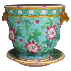 19th Century Majolica Passion Flower Aqua Jardiniere Minton