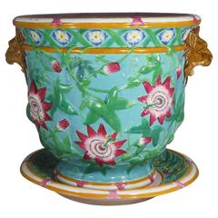 19th Century Majolica Passion Flower Turquoise Jardiniere Minton