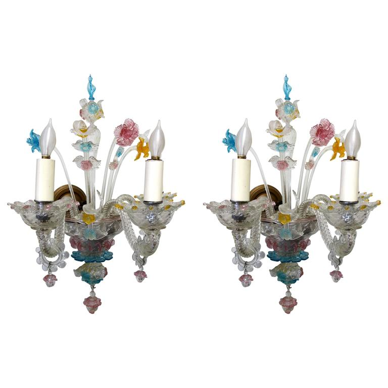 Murano Glass Wall Lighting Sconce, Pair at 1stdibs