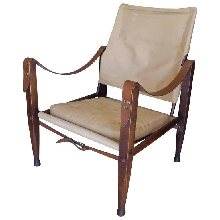 Canvas And Teak Portable Safari Chair By Kaare Klint For Carl Hansen,  Denmark For Sale