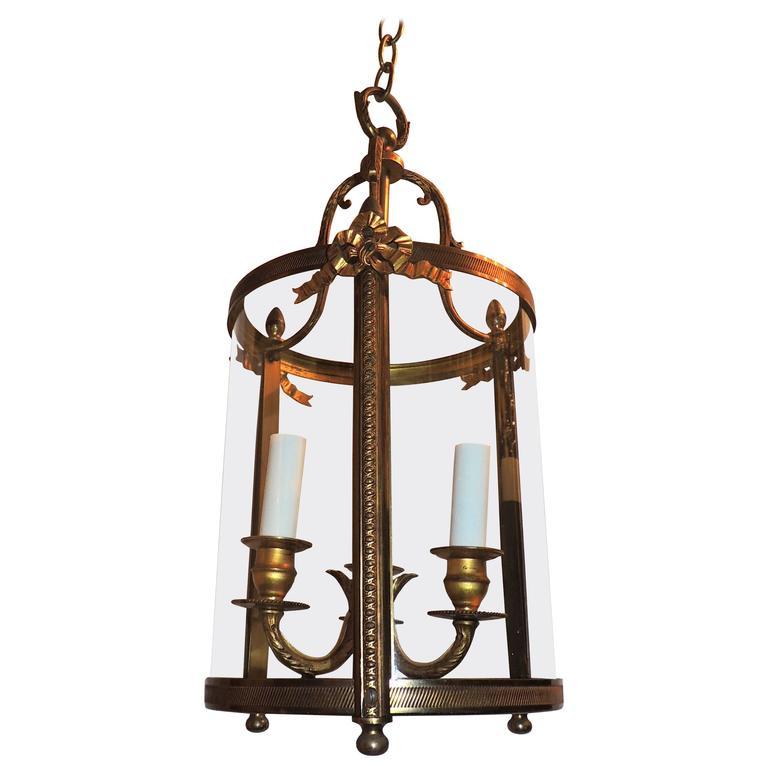 Wonderful French Ribbon Bow Gilt Bronze Three-Light Lantern Chandelier Fixture