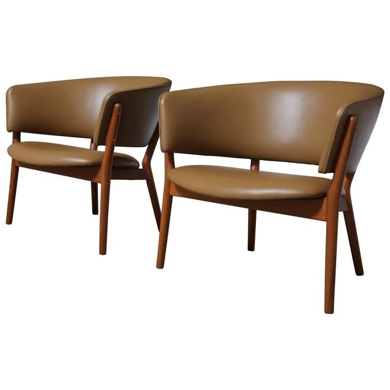 Pair of Leather and Teak Lounge Chairs by Nanna & Jorgen Ditzel