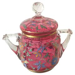 Moser Factory Enameled Cranberry Glass  Covered Jar, 19th Century