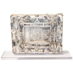 "Antique Belgian Plaster ""Master"" 1615 Plaque on Acrylic Base"